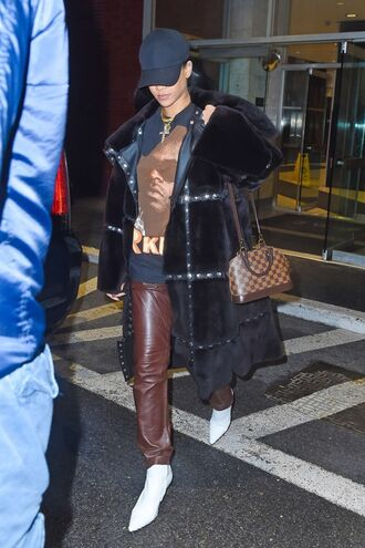 bag coat cap rihanna leather pants black coat fur coat louis vuitton white shoes snapback