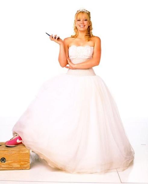 Dress, White, Hilary Duff, A Cinderella Story, Lace