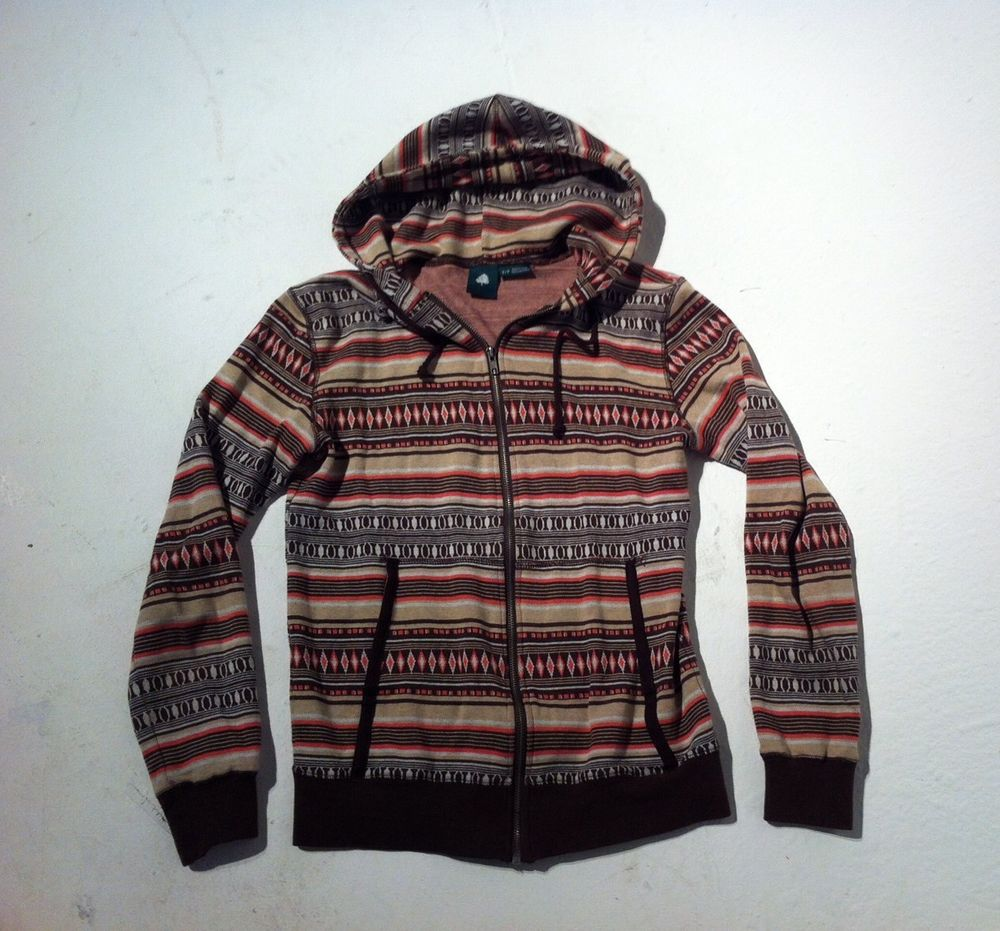 Womens Full Zip Hooded Small Petite Aztec Winter Cotton Sweater Jacket | eBay