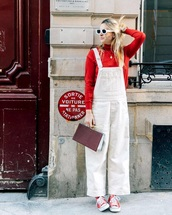 pants,sunglasses,white sunglasses,white overalls,sneakers,red sneakers,converse,top,red top,overalls,dungarees