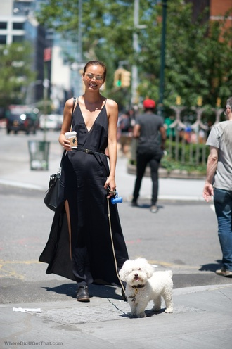 dress reformation reformation dress maxi dress black dress black maxi dress v neck dress v neck plunge v neck slit dress summer dress summer outfits boots black boots streetstyle sunglasses bag black bag