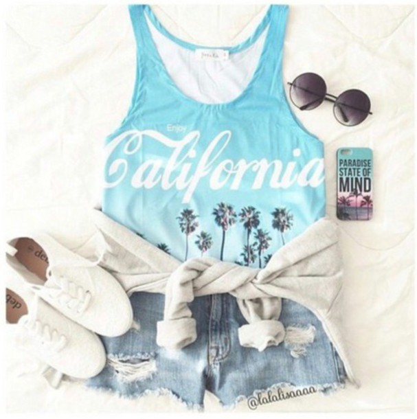 tank top: california, surf, summer, hipster, beach look, summer