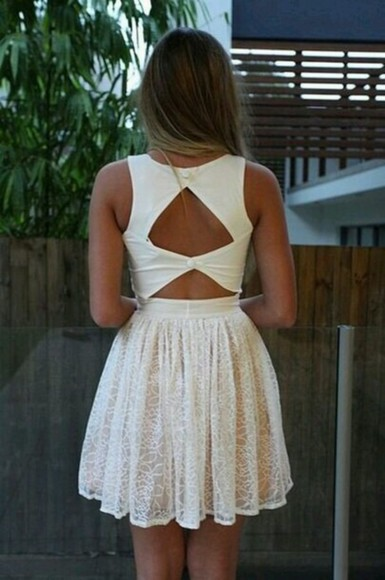 white dress cut-out dress