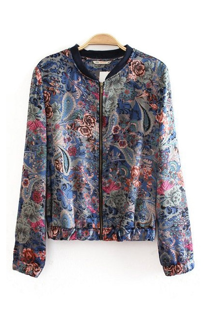 Blue Stand Collar Floral Print Slim-fit Jacket, Cheap fashion online store- FOYMALL