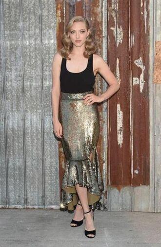 skirt top sequins sequin skirt amanda seyfried sandals sandal heels midi skirt