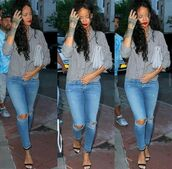 rihanna,jeans,shirt,bag,body chain,sandals,shoes