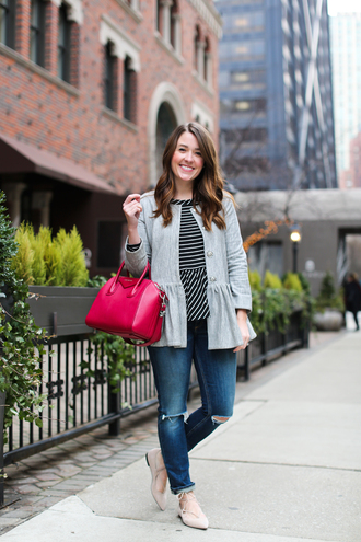 sequins and stripes blogger t-shirt jacket jeans bag