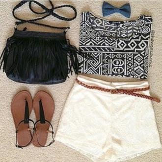 shorts lace white lace skirt purse sandals tank top bag