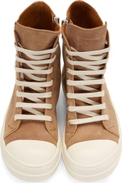 shoes,brown sneakers,rick owens
