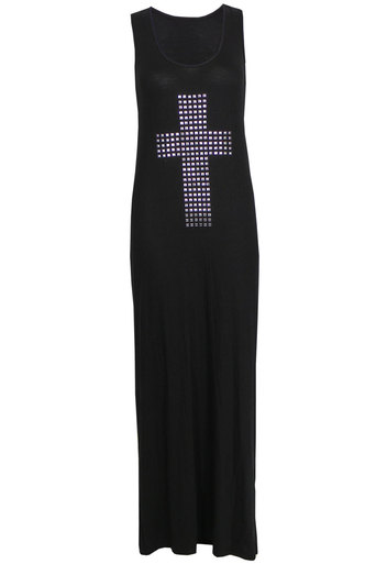 Womens Charlie Black Maxi Dress with Cross stud motif | Pop Couture