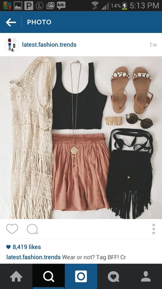 skirt gold black diamonds sandals sweater white backless shirt black shirt black crop top red skirt pink skirt pink ruffled edges red gold necklace necklace lace lace sweater purse black purse sunglasses hipster