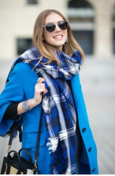 coat blue blue scarf scarf scarves scarves check blue coat black bag black bag sunglasses watch check scarf