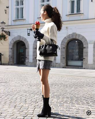 skirt grey skirt white sweater tumblr asymmetrical mini skirt sweater turtleneck turtleneck sweater boots black boots ankle boots