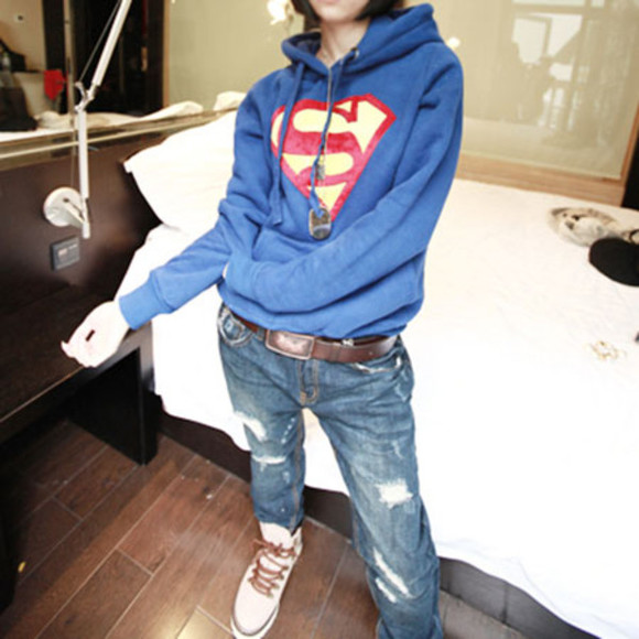 cute superman sweater sweatshirt warm