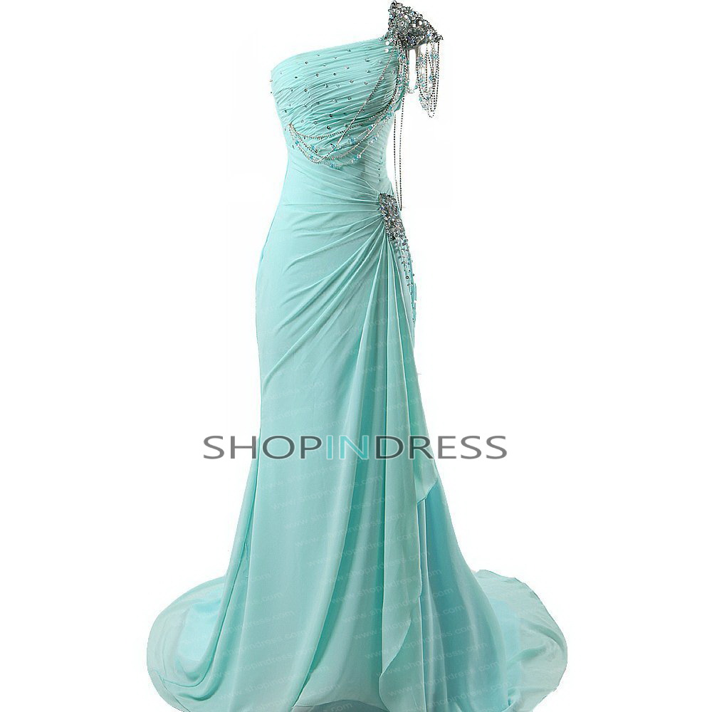 Mermaid/trumpet one shoulder floor length chiffon blue prom dress with ruffles npd2048 sale at shopindress.com