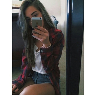 blouse flannel white crop top high waisted shorts grunge tumblr outfits style eyebrows on fleek on point on point clothing
