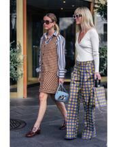 pants,wide-leg pants,high waisted,handbag,shoes,sunglasses,v neck,striped skirt,checkered