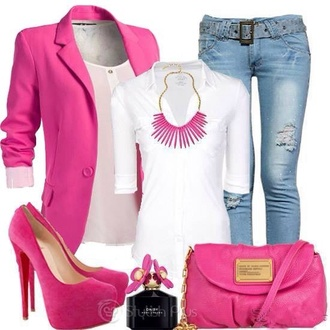 shoes pink jewels jeans jacket