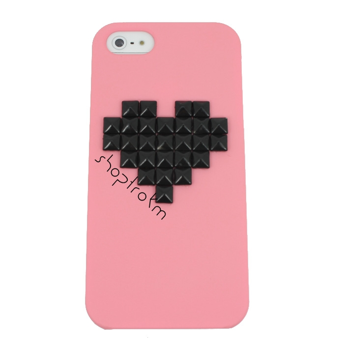 Contrast Love Coral Black Studded iPhone 5 Case