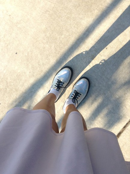 holographic metallic shoes creepers