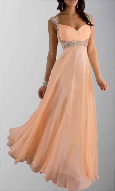 Long Prom Dress Peach Prom Dresses Cap Sleeves Formal Dresses