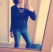 sweater,h&m,jewels,navy,denim