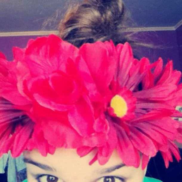 jewels red rose red daisy flower crown bun wrap