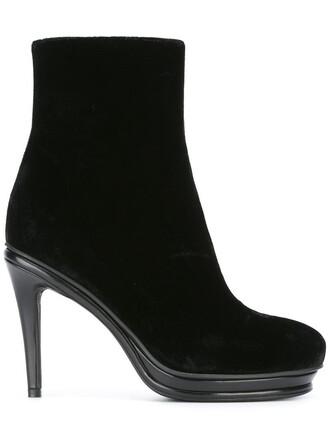 women boots ankle boots leather black velvet shoes