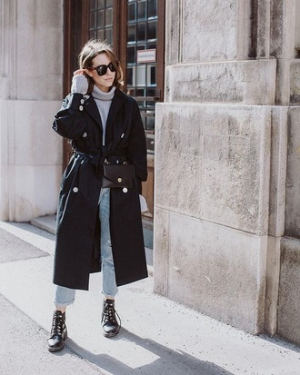 bag belt bag black bag coat black coat boots black boots sunglasses sweater jeans denim blue jeans turtleneck