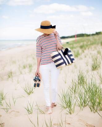 top hat tumblr stripes striped top denim jeans white jeans sandals bag beach bag sun hat pants shoes