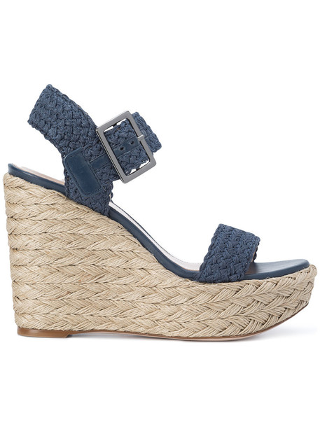 STUART WEITZMAN women espadrilles leather blue shoes