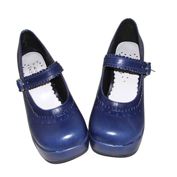 shoes blue blue shoes navy cute girly lolita chunky sole