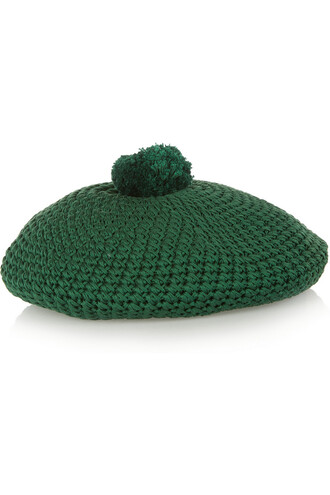 beret cotton forest green forest green hat