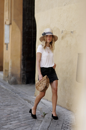 hat,tumblr,sun hat,straw hat,denim,denim skirt,skirt,mini skirt,black skirt,shoes,mules,t-shirt,white t-shirt,necklace,gold necklace,bag,basket bag