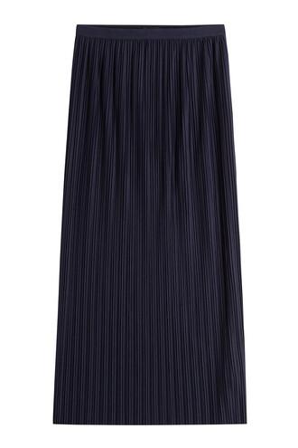 skirt long skirt pleated long blue
