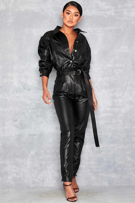 'Relent' Black Vegan Leather Jumpsuit - Mistress Rocks