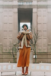 let's get flashy,blogger,coat,jumpsuit,shearling jacket,brown jacket,rust,green hair