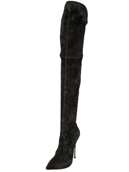 Casadei Black 110mm Blade Heel Cuissard Stretch Boots