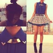 blouse,skirt,flowers,blue,necklace,gold,socks,jacket,dress