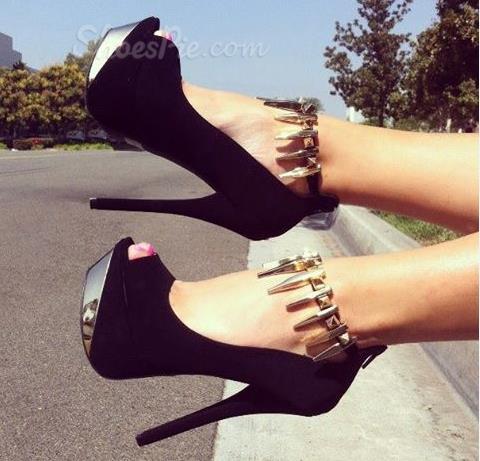 Chic & Fashionable Black Suede Platform Ankle Strap High Heel Shoes