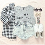 t-shirt,hate,mondays,grey,top,hair accessory,shoes,monday,i hate mondays,grey t-shirt