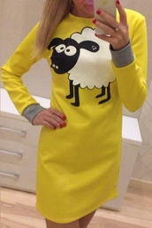 dress,sheep,yellow,long sleeves,cute,fashion,style,kawaii,funny