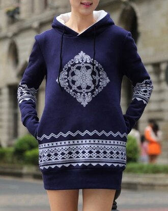 dress blue hoodie fashion style casual style hooded long sleeve ethnic print women's pullover hoodie long sleeves cute warm fall outfits girly winter outfits sweater