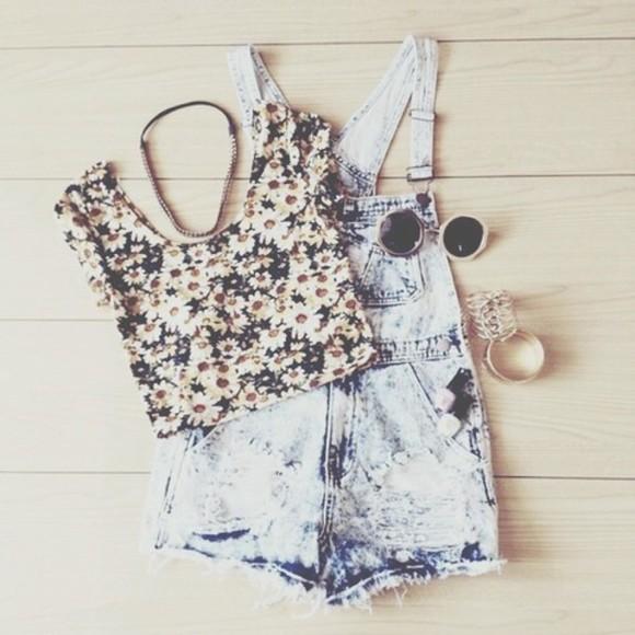 top floral crop tops jumpsuit sunglasses bracelets overalls festival indie boho