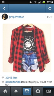 jacket,red,black,checkered,top,shirt,red flannel,hat,skirt,home accessory,shorts