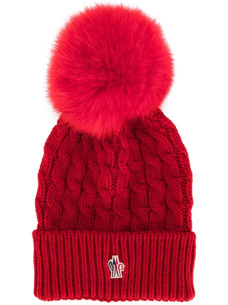 fur beanie pom pom beanie red hat