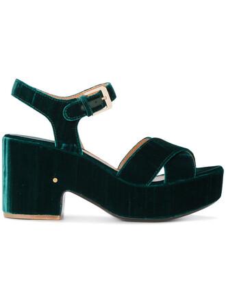 women sandals platform sandals leather velvet green shoes