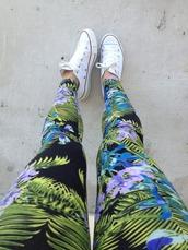 pants,flowers,floral,printed leggings,tropical,tropical print pants,white converse,converse,blue,lilac,pink,black