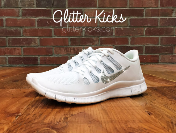 new products fa6fc 4a046 Women's Nike Free Run 5.0 Running Jogging Training Shoes Customized With  Swarovski Elements Crystal Rhinestones White White Silver Gray