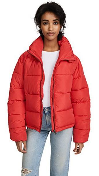 Glamorous coat cropped red
